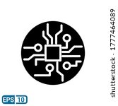 glyph style icon of circuit...
