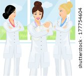 three midwives and baby ...   Shutterstock .eps vector #177754604