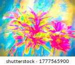 Splashy impressionistic abstract of bromeliad growing on a tree trunk in west central Florida, with digital painting effects, for background or element with ornamental, botanical, and tropical motifs - stock photo