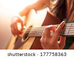 woman's hands playing acoustic... | Shutterstock . vector #177758363