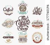 set of vintage retro coffee... | Shutterstock .eps vector #177760196