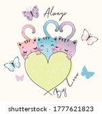 cute cat print graphic design | Shutterstock .eps vector #1777621823