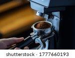 Coffee Grinder Grinding Coffee...