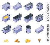 deep fryer icons set. isometric ... | Shutterstock .eps vector #1777676009