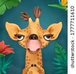 giraffe cartoon character. cute ... | Shutterstock .eps vector #1777711610