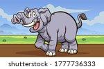 happy cartoon gray elephant... | Shutterstock .eps vector #1777736333