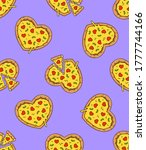 heart shaped pizzas on lilac... | Shutterstock .eps vector #1777744166