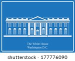The White House, Washington DC. eps10 vector on blue background. - stock vector