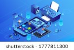 abstract office model shows a... | Shutterstock . vector #1777811300
