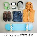 overhead of essentials casual... | Shutterstock . vector #177781790