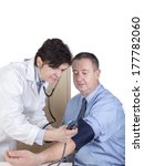 doctor measures the blood... | Shutterstock . vector #177782060