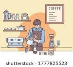 a barista is making hand drip... | Shutterstock .eps vector #1777825523