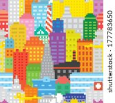 pixel art city seamless vector... | Shutterstock .eps vector #177783650