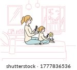 mother and daughter are sitting ... | Shutterstock .eps vector #1777836536