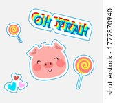 cute baby pig with funny text... | Shutterstock . vector #1777870940