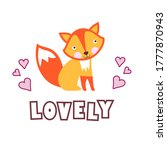 cute baby fox with funny text... | Shutterstock . vector #1777870943