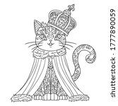 king cat with monarch crown.... | Shutterstock .eps vector #1777890059
