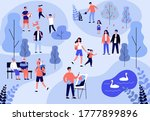 people enjoying leisure in park.... | Shutterstock .eps vector #1777899896