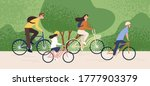 active family riding on bike at ... | Shutterstock .eps vector #1777903379