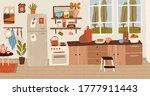 cozy rustic hand drawn kitchen... | Shutterstock .eps vector #1777911443