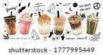 Bubble milk tea Special Promotions design, Boba milk tea, Pearl milk tea , Yummy drinks, coffees and soft drinks with logo and doodle style advertisement banner. Vector illustration.