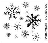 Cute Snowflakes Set Hand Drawn...