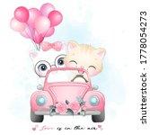cute little kitty driving a car ...   Shutterstock .eps vector #1778054273