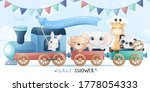 cute little animals sitting in... | Shutterstock .eps vector #1778054333