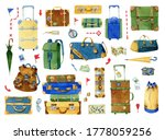 Watercolor Set With Luggage An...