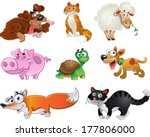 bis set of funny pig  dogs ... | Shutterstock . vector #177806000