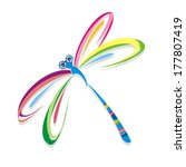 Stock vector colorful dragonfly vector illustration 177807419