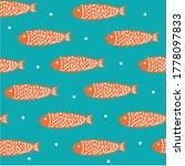 deep blue sea pattern. orange... | Shutterstock .eps vector #1778097833