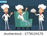 cartoon flat funny little chef...   Shutterstock .eps vector #1778124170