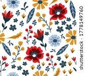 scandinavian folk floral... | Shutterstock .eps vector #1778149760