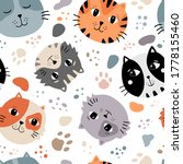 cats faces seamless pattern ... | Shutterstock .eps vector #1778155460