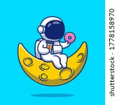 cute astronaut with donut and... | Shutterstock .eps vector #1778158970