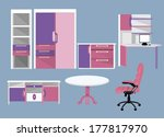 flat furniture icons | Shutterstock .eps vector #177817970