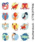 colorful set of zodiac signs...   Shutterstock .eps vector #1778197946