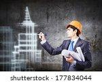 young man engineer in helmet... | Shutterstock . vector #177834044