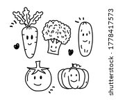 set of vegetable with facial... | Shutterstock .eps vector #1778417573