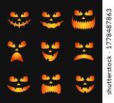 set of pumpkin faces silhouette ... | Shutterstock .eps vector #1778487863