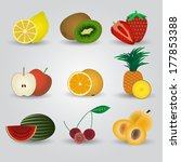colorful fruits and half fruits ... | Shutterstock .eps vector #177853388