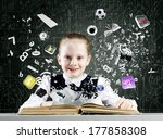 schoolgirl at lesson with... | Shutterstock . vector #177858308