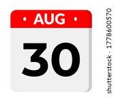 august 30 flat calendar icon | Shutterstock .eps vector #1778600570