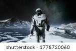 The Astronaut Is Walking On A...