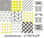 vector set of nine abstract... | Shutterstock .eps vector #177875129