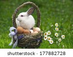 easter basket with eggs and the ... | Shutterstock . vector #177882728
