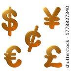 A Set Of Five Money Symbols In...