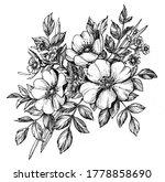 tattoo branch of flowers.... | Shutterstock . vector #1778858690