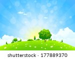 green landscape with  flowers... | Shutterstock .eps vector #177889370